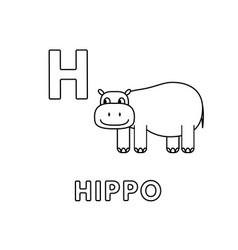 cute cartoon animals alphabet hippo vector image