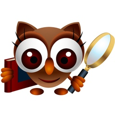 cute owl with magnifying glass vector image