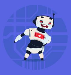 Cute robot happy smiling show heart shape modern vector