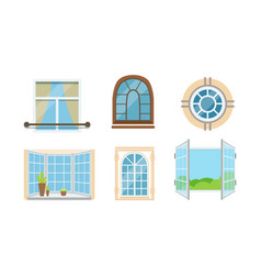 Different types windows set glass vector
