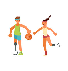 Disabled young sportsmans playing basketball vector