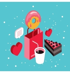Donut shop Cake dessert Delicious food isometric vector image