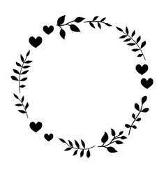 Doodle monochrome heart and leaf circle frame vector