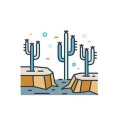 dry desert line art scenery wild land with cactus vector image