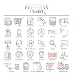 E-commerce icon set Modern line icons for vector image