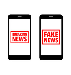 Fake and breaking news rubber stamp cell phone vector