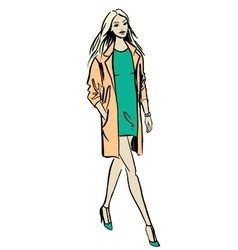 Fashion of walking woman vector image