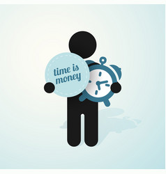 figure man holds alarm clock and sign time is vector image