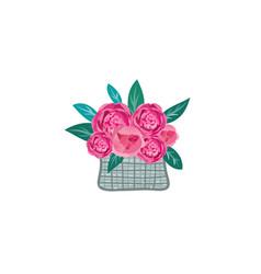 Floral gift flower in basket summer decor sign vector