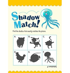 Game template with shadow matching jellyfish vector image