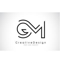 Gm g m letter logo design in black colors vector