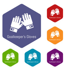 Goalkeeper gloves icons hexahedron vector