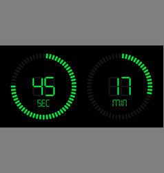 green stopwatch countdown digital timer vector image