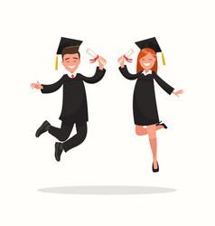 Guy and girl university graduates joyfully bounce vector