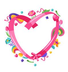 Happy valentine day ribbon frame vector