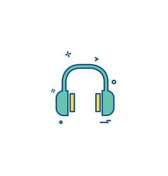 headset icon design vector image