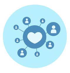 heart shape like icon on blue background social vector image