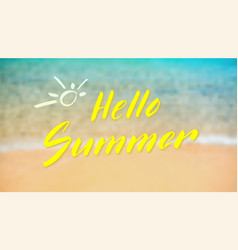 Hello summer calligraphy lettering on tropical vector