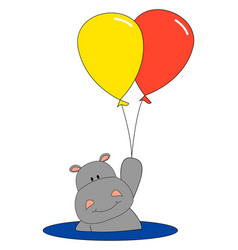 hippo with balloon on white background vector image