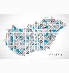 Hungary map crystal diamond style artwork vector