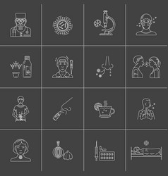 Influenza prevention icon set vector