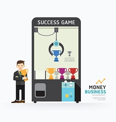 Infographic business claw game template design vector