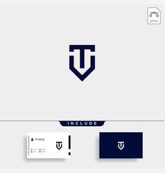 Initial t shield logo template design vector