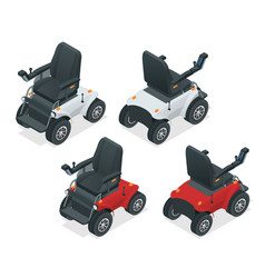 isometric set of electric wheelchair new large vector image