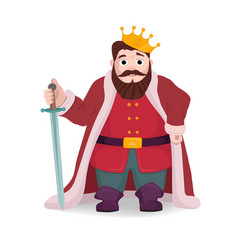 king character knight posing with sword and crown vector image