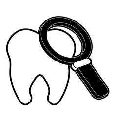 Magnifying glass on molar dental care icon image vector