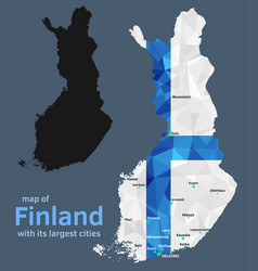 map finland and its largest cities vector image