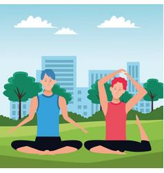 Men yoga poses vector