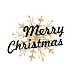 merry christmas lettering with golden ornaments vector image