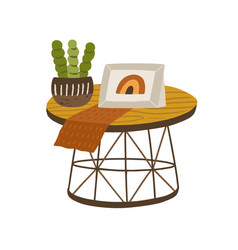 modern wooden coffee table with potted plant vector image