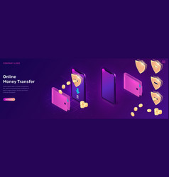 online money transfer or cash back isometric vector image
