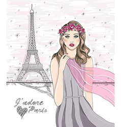 Paris eiffel tower postcard vector