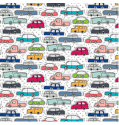 Pattern with hand drawn doodle cars background vector