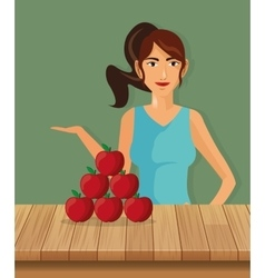 Person with healthy food icons image vector