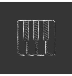 Piano keys Drawn in chalk icon vector