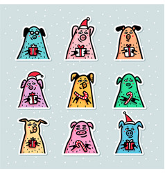 pig stickers set funny pigs with candy canes vector image