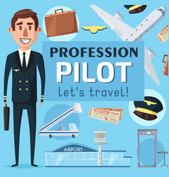 pilot profession vacancy at airport poster vector image