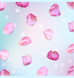 Pink rose petals realistic vector