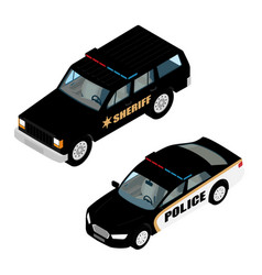 police car set isometric view isolated on white vector image