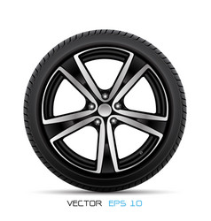 realistic aluminum car wheel with tire vector image