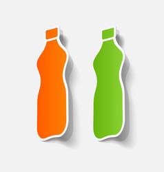 Realistic paper sticker bottle vector