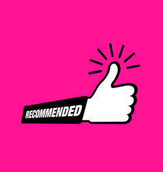 recommend icon thumb up emblem pink like icon vector image