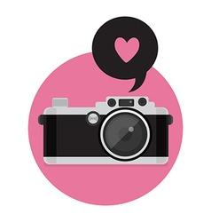 Retro camera icon flat style vector