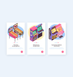 Retro game machines banners vector