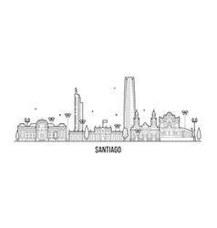 santiago skyline chile city buildings line vector image