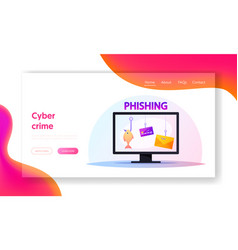 scam fraud activity landing page template vector image